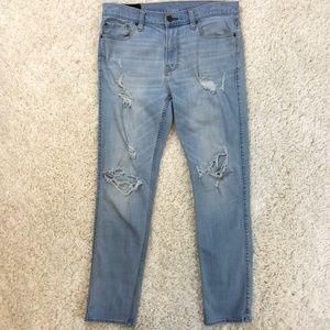 Hollister ripped stretch skinny jean 34x32